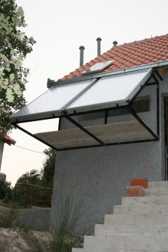 Solar PanelsThe two large panels heat our water and the small panel powers the compost toilet chamber ventilation fans.